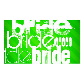 Bride; Neon Green Stripes Pack Of Standard Business Cards