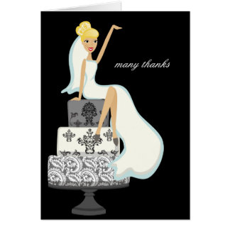 Bride On A Wedding Cake Thank You Notes Note Card
