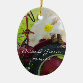 Bride on Red Tractor Country Farm Wedding Ceramic Oval Decoration
