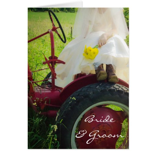 Bride on Tractor Country Wedding Invitation Cards