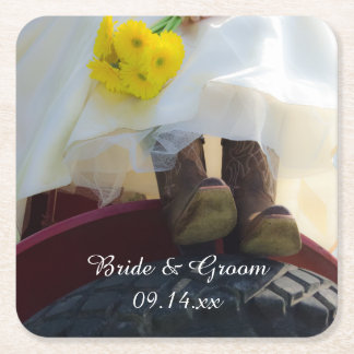 Bride on Tractor Country Wedding Square Paper Coaster