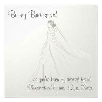 Bride On White Satin Personalized Announcements