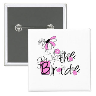 Bride Pink and Black Flowers Tshirts and Gifts Pin