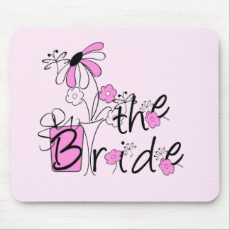 Bride Pink and Black Flowers Tshirts and Gifts Mousepads