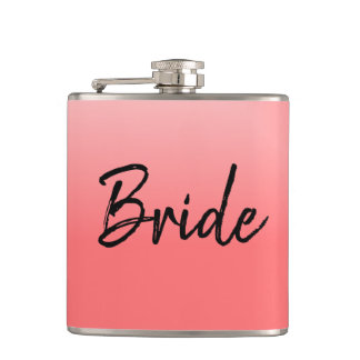 Bride Pink and Black Hip Flask