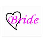 Bride Pink Black Heart Postcard
