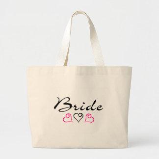 Bride Pink Black Hearts Jumbo Tote Bag