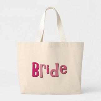 Bride Pink Brown Large Tote Bag