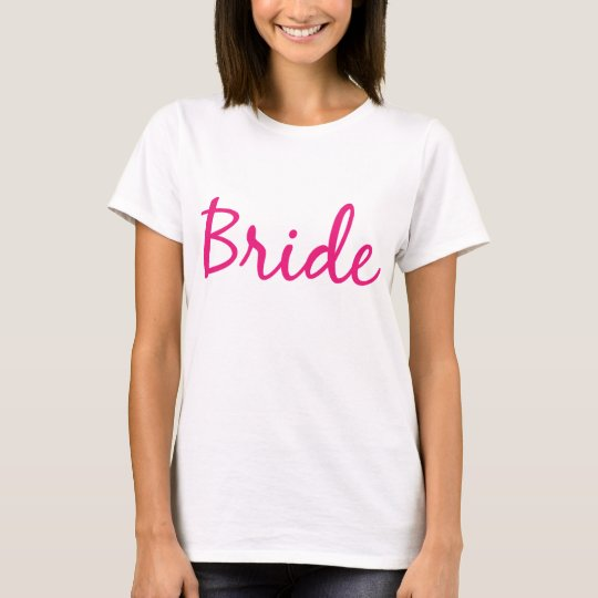 Bride Pink Cursive Printed Fitted Women's T-shirt