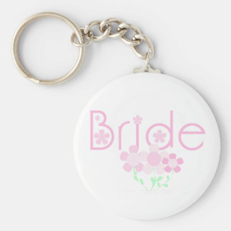 Bride Pink Flowers T-shirts and Gifts Keychain
