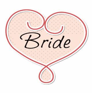 Bride Pink Heart Standing Photo Sculpture