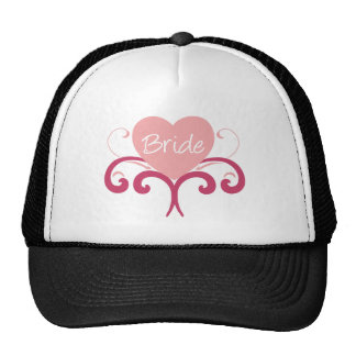 Bride Pink Heart with Flourishes Cap