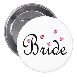 Bride Pink Hearts 7.5 Cm Round Badge
