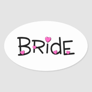 Bride Pink Hearts Oval Sticker