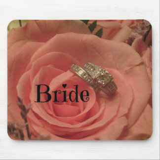 Bride Pink Rose with Diamond Rings Mousepads