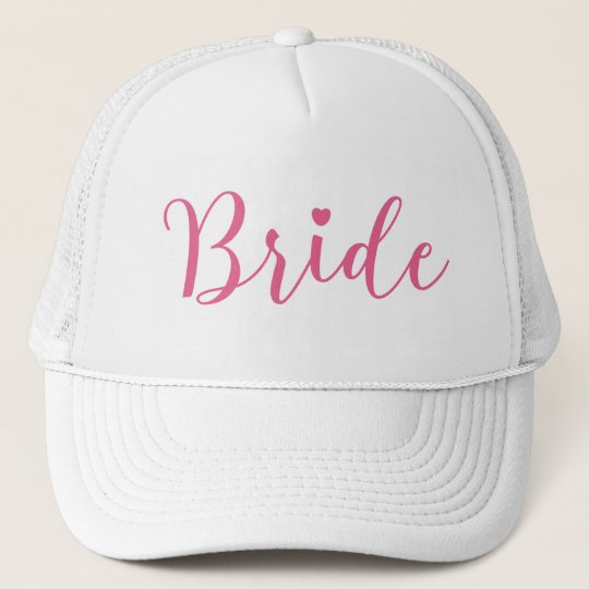 Bride Pink Script Simple & Elegant Trucker Hat