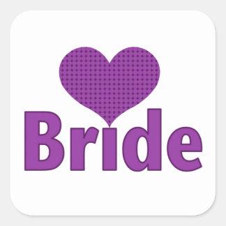 Bride (purple heart) square sticker