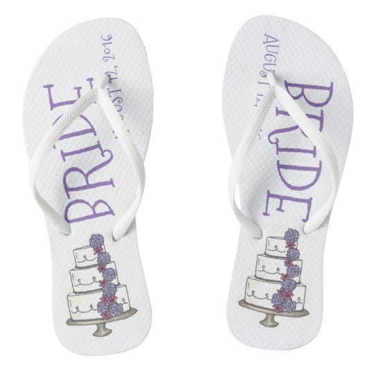 BRIDE Purple Wedding Cake Customised Flip Flops