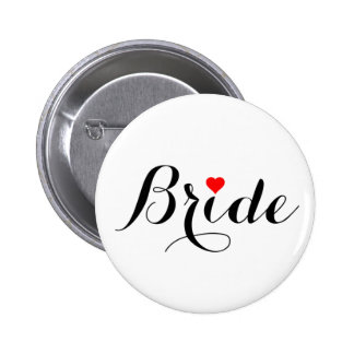 Bride Red Heart Button
