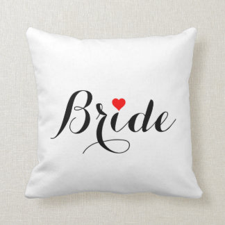 Bride Red Heart Throw Pillow