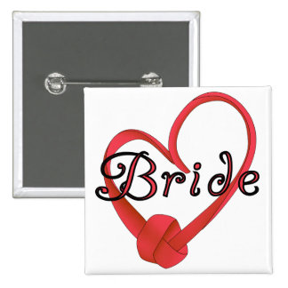 Bride Red Knot Heart Tshirts and Gifts Pinback Buttons