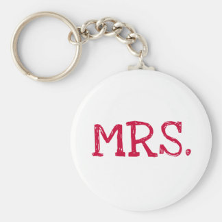 Bride Red Text Mrs. Basic Round Button Key Ring