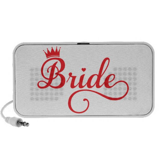 Bride red word art text design for t-shirt iPhone speakers