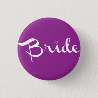 Bride Retro Script White 3 Cm Round Badge