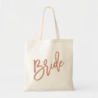 Bride Rose Gold Script Tote Bag