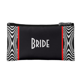 Bride Save the Date Wedding Black and White Zigzag Makeup Bag