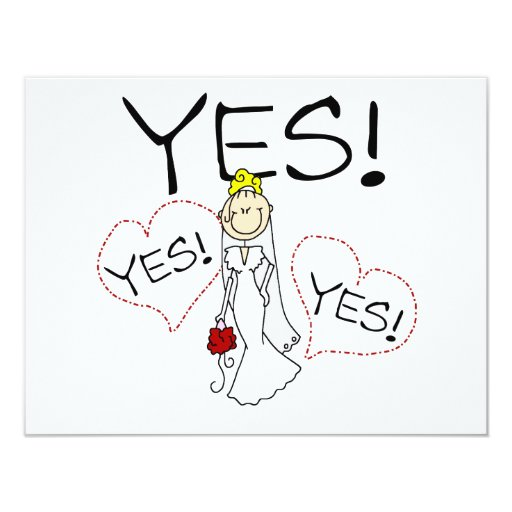Bride Says Yes Tshirts and Gifts 11 Cm X 14 Cm Invitation Card