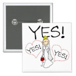 Bride Says Yes Tshirts and Gifts Buttons