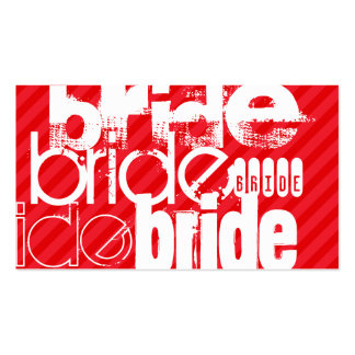 Bride; Scarlet Red Stripes Double-Sided Standard Business Cards (Pack Of 100)