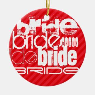 Bride; Scarlet Red Stripes Round Ceramic Decoration