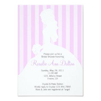 Bride Silhouette - Bridal Shower Stripes (Purple) 13 Cm X 18 Cm Invitation Card
