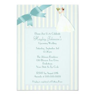 Bride Smelling Bouquet Blue & White Retro Stripes 13 Cm X 18 Cm Invitation Card