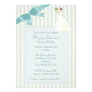 Bride Smelling Bouquet Blue White Retro Stripes Custom Announcements