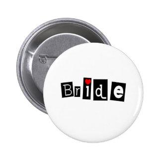 Bride (Sq) 6 Cm Round Badge