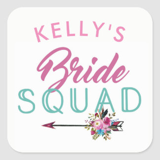 Bride Squad Bridal Shower Stickers Floral Hen