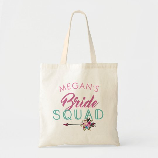 Bride Squad Floral Arrow Tote Bag Gift Customise