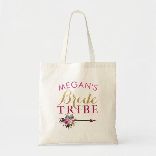 Bride Squad Floral Gold Tote Bag Gift Customise