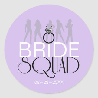 Bride Squad Silhouettes Black on Lites ID252 Classic Round Sticker