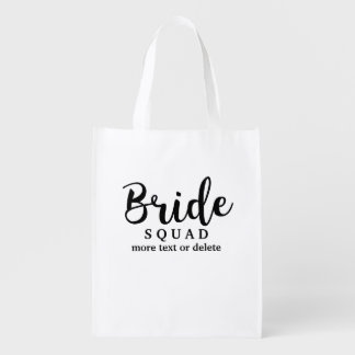 Bride Squad, Team Bride, Chic Modern Wedding Party Reusable Grocery Bag
