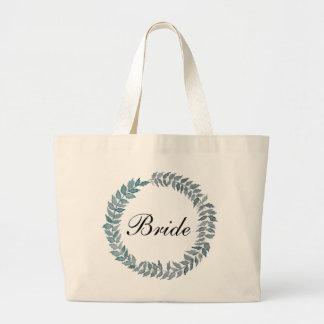 Bride Steel Blue Vine | Watercolor Wreath Jumbo Tote Bag