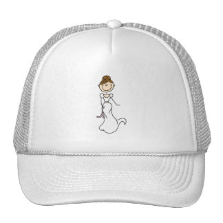 Bride Stick Figure Brunette Hat