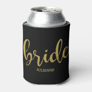 Bride Stylish Gold Glitter Bridal Shower Can Cooler