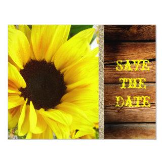 Bride Sunflower Floral Burlap Country Wedding Barn 4.25x5.5 Paper Invitation Card