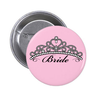 Bride Tiara Button (pink background)