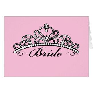 Bride Tiara Greeting Card pink background