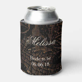 Bride to Be Black Faux Lace Can Cooler